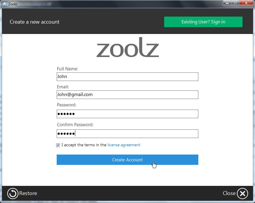 Sign up Zoolz Home 1