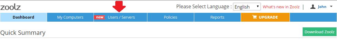 Users Servers tab