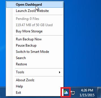 Open Dashboard