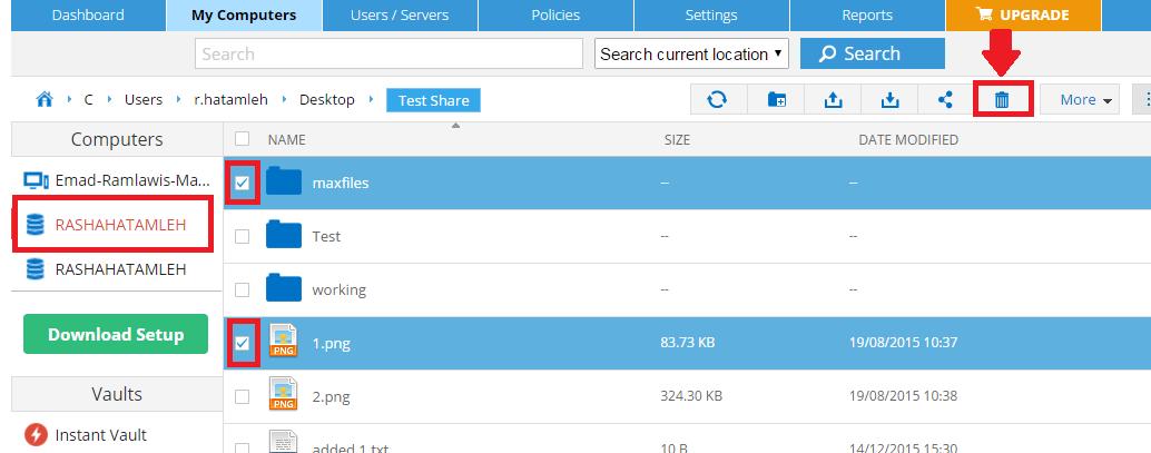 Delete files folders Zoolz