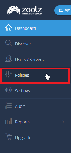 Left side menu - Policies Intelli