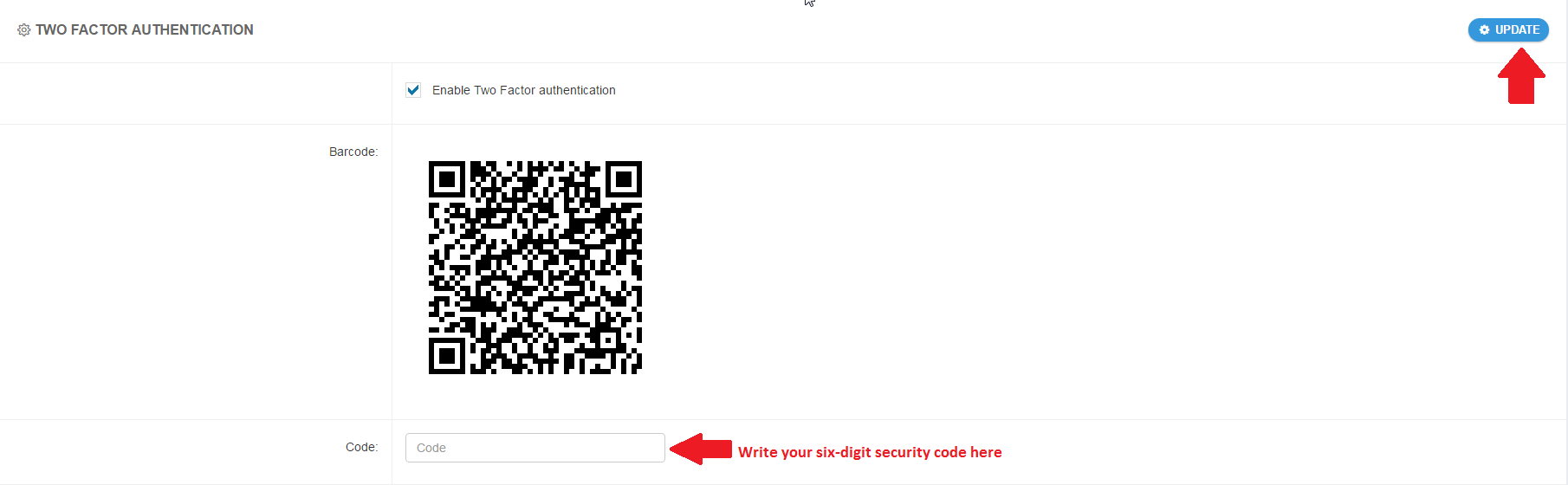 Enable Two Factor authentication 2
