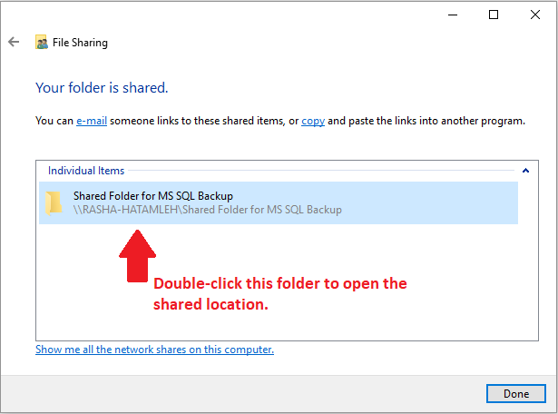 how to create a shared network folder